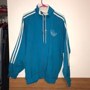 VINTAGE TEAL BLUE ADIDAS WINDBREAKER